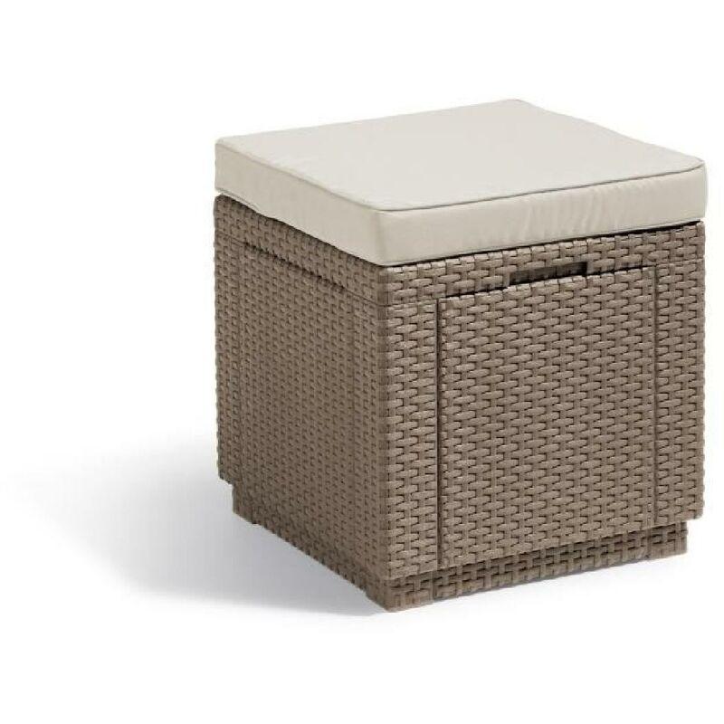 ALLIBERT Table-coffre avec coussin - imitation résine tressée cappuccino