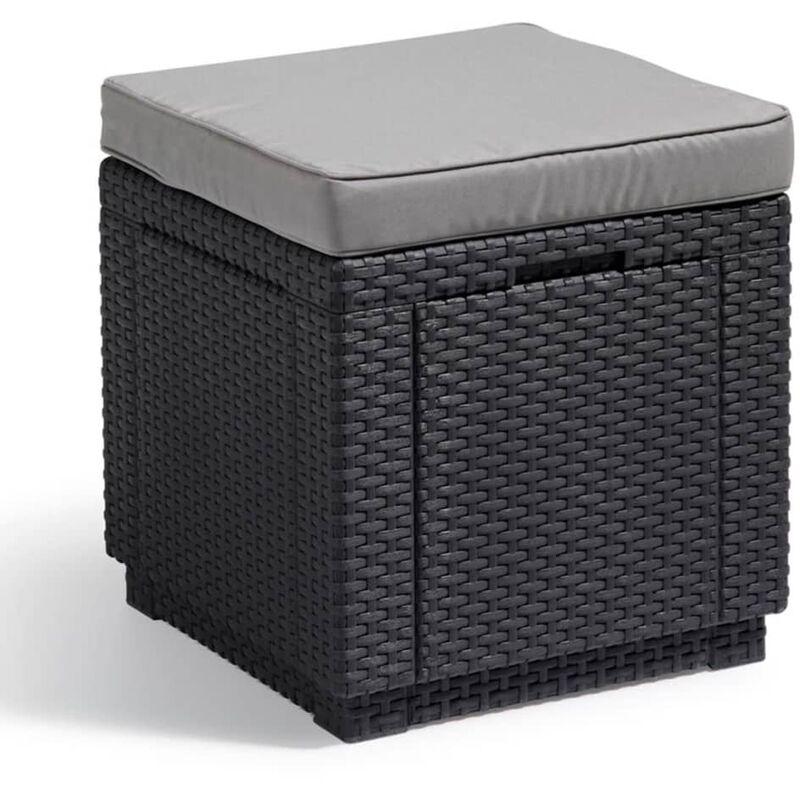 Pouf de rangement Cube Graphite 213785 - Allibert
