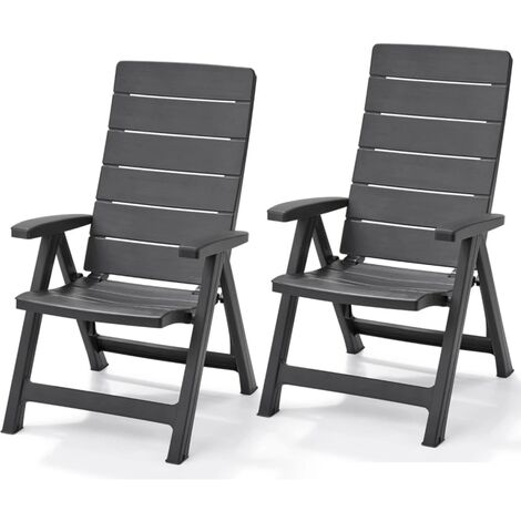 Allibert Reclining Garden Chairs Brasilia 2 pcs Graphite 222970 - Grey