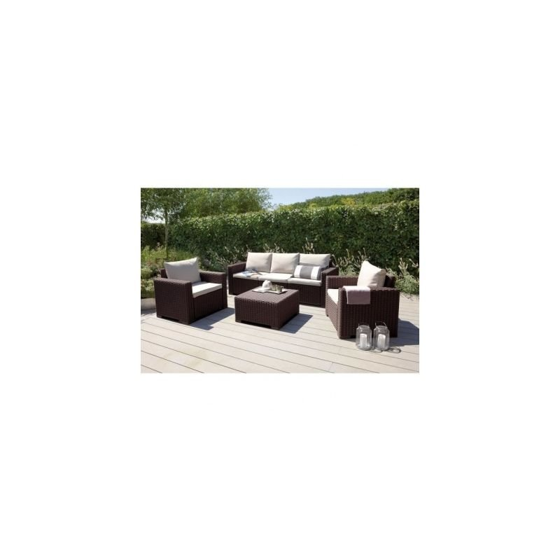 ALLIBERT Salon de jardin CALIFORNIA 5 places imitation resine ...