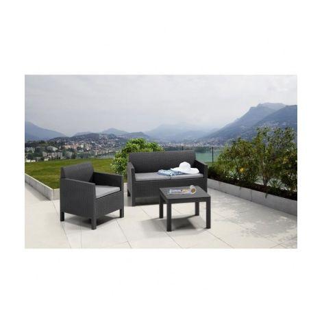 ALLIBERT Salon de jardin HOUSTON 3 places modulable avec ...