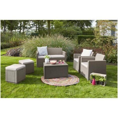 ALLIBERT Salon de jardin MERANO 4 places - avec table-coffre - imitation résine tressée - Cappuccino