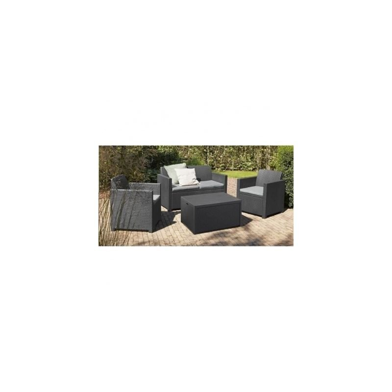 ALLIBERT Salon de jardin MERANO 4 places - avec table-coffre ...