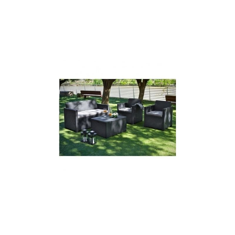 ALLIBERT Salon de jardin MERANO 4 places - avec table-coffre - imitation  resine tressee - Gris
