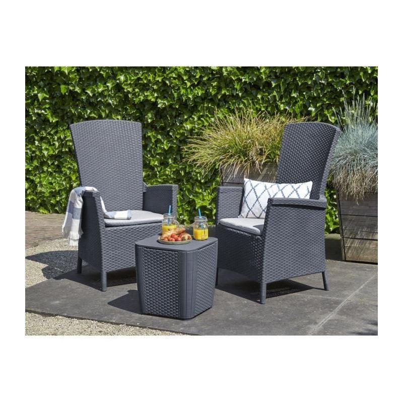 ALLIBERT Salon de jardin VERMONT 2 places - fauteuils multipositions -  imitation résine tressée - Graphite.