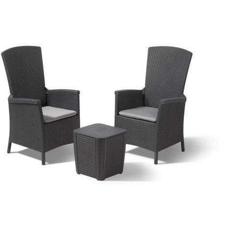 ALLIBERT Salon de jardin VERMONT 2 places - fauteuils multipositions ...