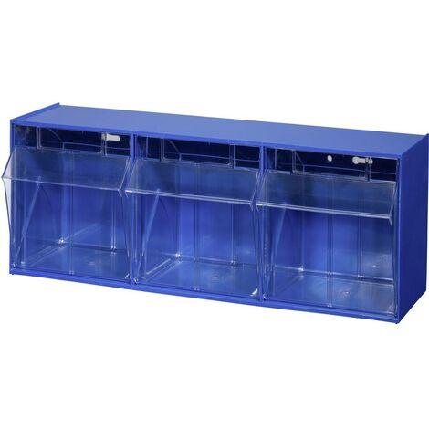 Allit 464410 Casier à tiroirs basculants VarioPlus ProFlip 3 (l x H x P) 600 x 240 x 200 mm bleu, transparent 1 pc(s)