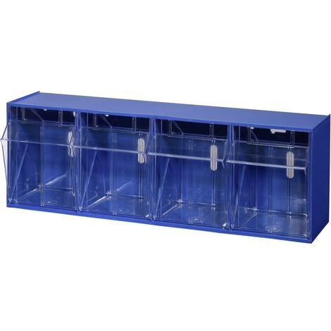 Allit 464420 Casier à tiroirs basculants VarioPlus ProFlip 4 (l x H x P) 600 x 205 x 170 mm bleu, transparent 1 pc(s)