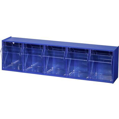 Allit 464430 Casier à tiroirs basculants VarioPlus ProFlip 5 (l x H x P) 600 x 165 x 135 mm bleu, transparent 1 pc(s)