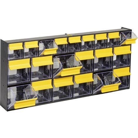 Allit 464445 Casier à tiroirs basculants VarioPlus ProFlip 6/6/9 (l x H x P) 600 x 285 x 93 mm noir, jaune, transparent 1 pc(s) C586331