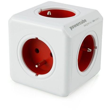 ALLOCACOC POWERCUBE ORIGINAL DUO USB FR ROUGE, 4 PRISES 230V + 2 USB, FR, BLANC ROUGE POWERCUBE USB RED 2202RD
