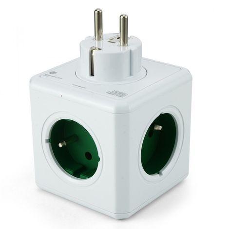 ALLOCACOC POWERCUBE ORIGINAL DUO USB FR VERT, 4 PRISES 230V + 2 USB, FR, BLANC VERT POWERCUBE USB GREEN 2202GN