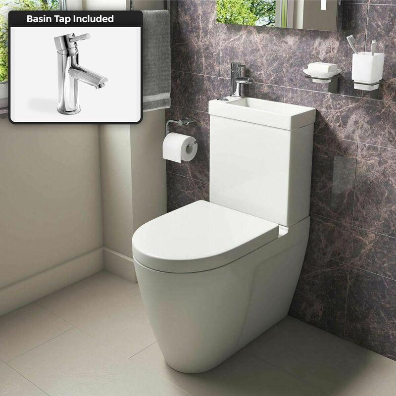Neshome - Allscot 2 in 1 Compact Basin Close Coupled Toilet & Mini Mono Basin Mixer
