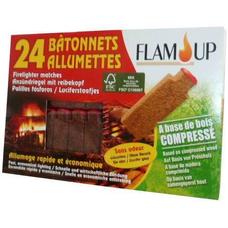 Allume feu bois compressé x24 bâtonnets allumettes
