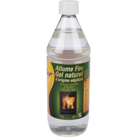 Allume Feu gel naturel d'origine végétale Feudor - Flacon 1 l - Jaunâtre à orangé.