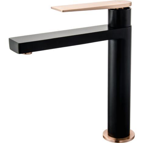 Allure mitigeur lavabo haut noir et or rose - Noir
