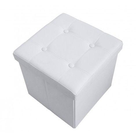 Almacenamiento Banco, Almacenamiento Otomano Plegable de Cuero, 38 x 38 x 38 cm, Blanco, Acabado cosido y copetudo, Carga máxima: 150 kg