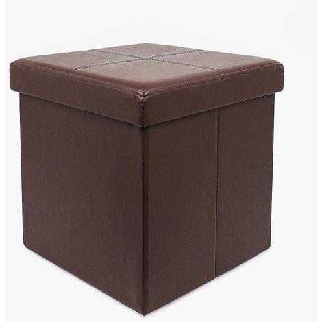 Almacenamiento Banco, Almacenamiento Otomano Plegable de Cuero, 38 x 38 x 38 cm, Marrón, Imitación de cuero y acabado cosido, Carga máxima: 150 kg