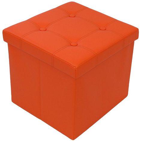 Almacenamiento Banco, Almacenamiento Otomano Plegable de Cuero, 38 x 38 x 38 cm, Naranja, Acabado cosido y copetudo, Carga máxima: 150 kg
