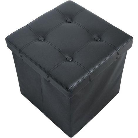 Almacenamiento Banco, Almacenamiento Otomano Plegable de Cuero, 38 x 38 x 38 cm, Negro, Acabado cosido y copetudo, Carga máxima: 150 kg