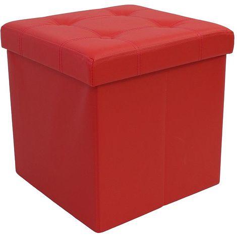 Almacenamiento Banco, Almacenamiento Otomano Plegable de Cuero, 38 x 38 x 38 cm, Rojo, Acabado cosido y copetudo, Carga máxima: 150 kg
