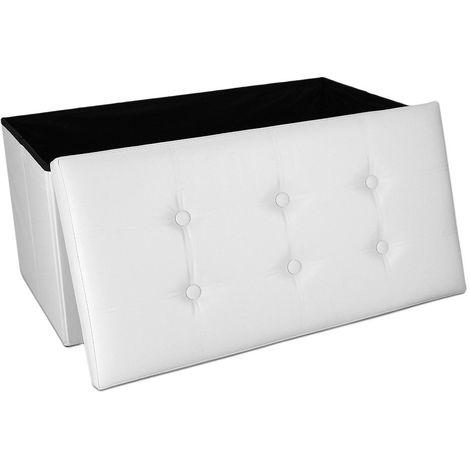 Almacenamiento Banco, Almacenamiento Otomano Plegable de Cuero, 76 x 38 x 38 cm, Blanco, Acabado cosido y copetudo, Carga máxima: 150 kg