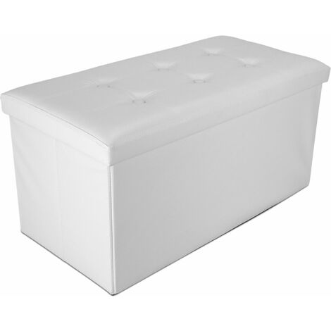 Almacenamiento Otomano Plegable de Cuero, Almacenamiento Banco, 76 x 38 x 38 cm, Blanco, Acabado cosido y copetudo, Carga máxima: 150 kg