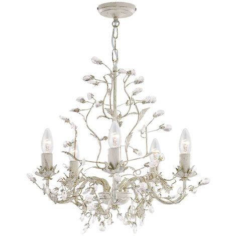 ALMANDITE - 5 LIGHT CEILING, CREAM GOLD FINISH WITH LEAF DRESSING AND CLEAR CRYSTAL DECO