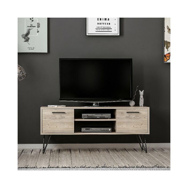 Homemania - Almira TV-Schrank - Modern - mit Tueren, Regalen - vom Wohnzimmer - Holz, Schwarz aus Holz, Metall, 120 x 35 x 50 cm