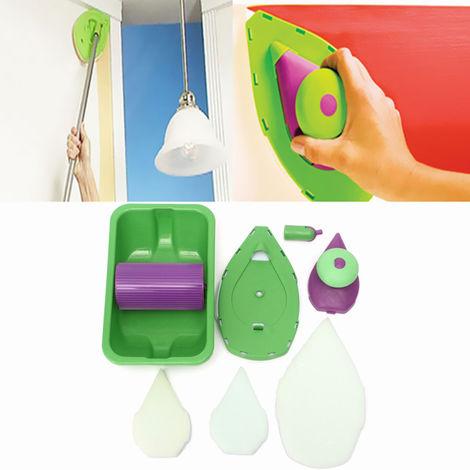 Almohadilla de pintura de punto Bandeja de rodillo de pintura Kit de esponja Kit Cepillo Herramienta de decoración de la pared del hogar (Material: plástico) Sasicare