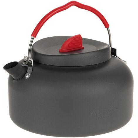 ALOCS CW-K04Pro tetera ligera para exteriores, tetera, utensilios de cocina para acampar, hervidor de agua, olla, calentador de estufa de alcohol de 1,4 l y soporte portatil