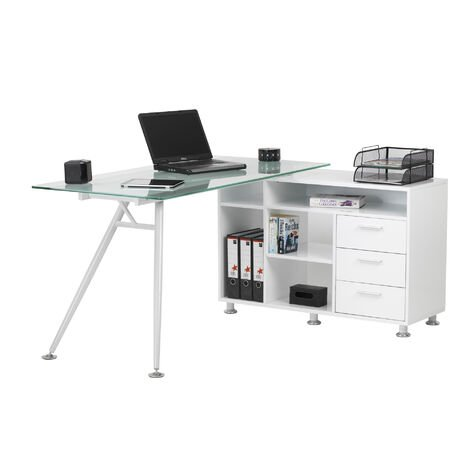 """main image of """"Alphason Augusta Computer Workstation with Frosted Glass"""""""