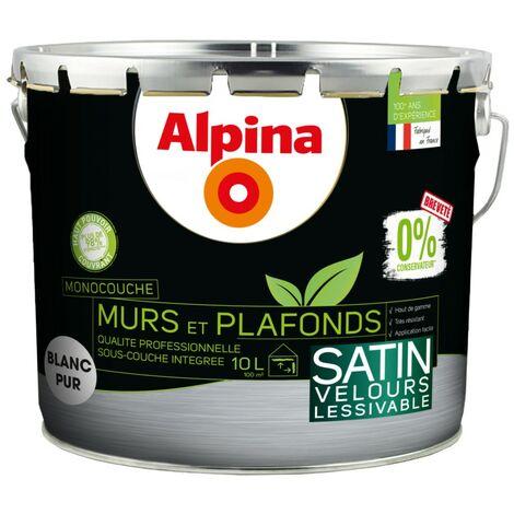 Alpina 0% Conservateur Mur Plaf Monocouche Satin 10L Blanc