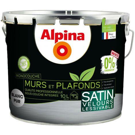 Alpina 0% Conservateur Mur Plafond Monocouche Satin 2L5 Blanc