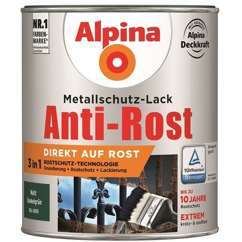 Alpina Metallschutz-Lack Matt 750 ml | Metalllack Anti-Rost in allen Farben