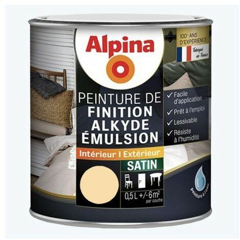 ALPINA Peinture Bois Alkyde Emulsion Satin Ivoire 0,5 L - Ivoire