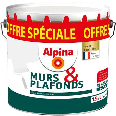 Alpina Peinture murs et plafond Blanc satin 15,1L | Finition: Satinée - Couleur: Blanc