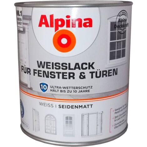 Alpina Weißlack für Fenster und Türen - Blockfester Speziallack für Fenster und Türen im Innen- und