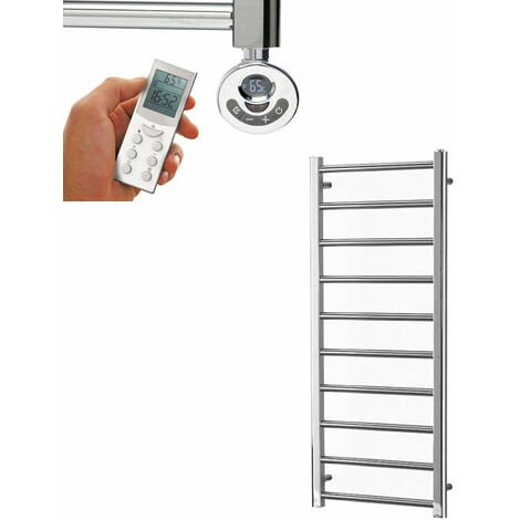 ALPINE Chrome Modern Towel Warmer / Heated Towel Rail - Dual Fuel, Thermostat + Timer