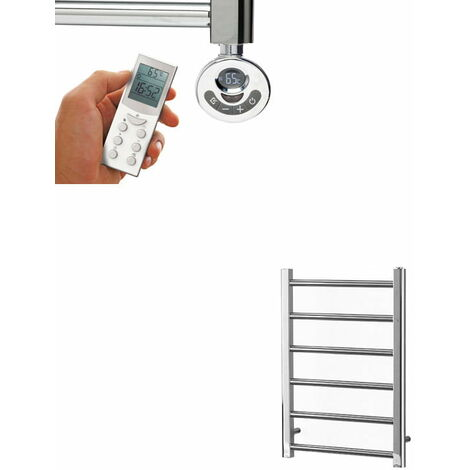 ALPINE Modern Heated Towel Rail / Warmer, Chrome - Electric, Thermostat + Timer, 50cm x 80cm