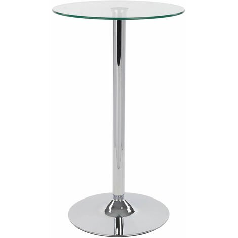 Alpo Tall Poseur Kitchen Bar Glass Table Round Clear Glass Top Silver glass Chrome