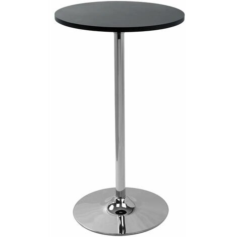 Alsing Tall Kitchen Bar Poseur Table Black Round Top
