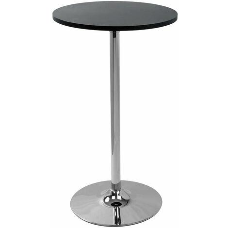 Alsing Tall Kitchen Bar Poseur Table Black Round Top Laminate Laminate Chrome