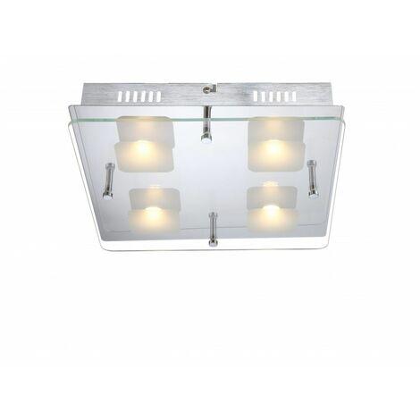Alta calidad LED del techo placa de vidrio de cromo luz transparente, satinada por LED 5W - Globo 49205-4
