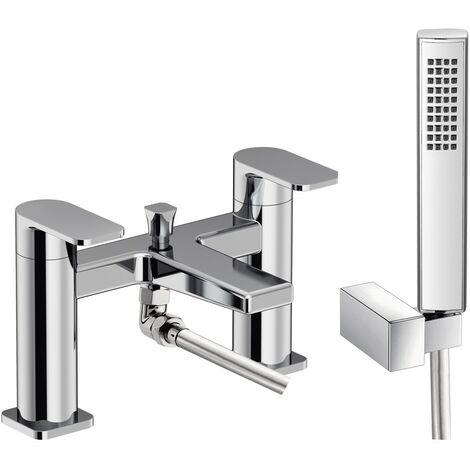 Alta Chrome Deck Mounted Bath Shower Mixer & Shower Kit