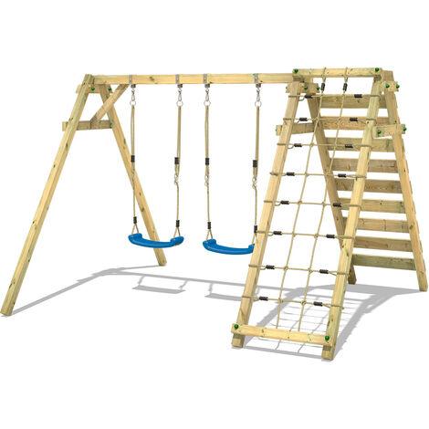 """main image of """"Altalena WICKEY Smart Cliff per bambini Altalena 2 posti con modulo arrampicata per il giardino"""""""