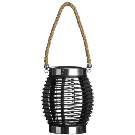 Altar Small Lantern - Wood/Glass/Rope - Stylish Black Finish