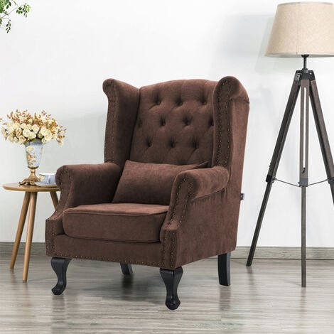 ALTHORPE WING BACK FIRESIDE RECLINER FABRIC BONDED VELVET OCCASIONAL ARMCHAIR SOFA CHAIR(Coffee)
