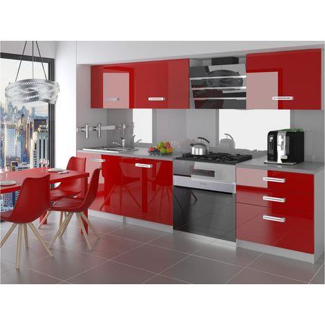 ALTO | Cuisine Complète Modulaire Linéaire L 180 cm 6 pcs | Plan de travail INCLUS | Ensemble meubles cuisine moderne | Rouge - Rouge