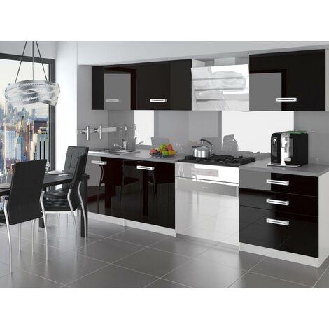 ALTO | Cuisine Complète Modulaire Linéaire L 180 cm 6 pcs | Plan de travail INCLUS | Ensemble meubles de cuisine modernes | Noir - Noir